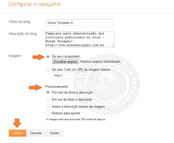 Personalizando o cabeçalho do blog (Header)