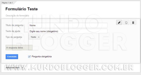 configurar campos do formulario google drive