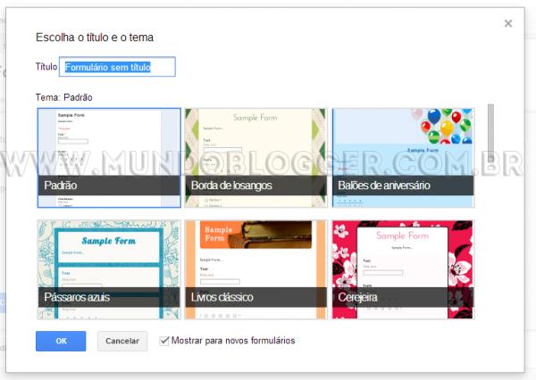 escolher tema formulario de contato google drive