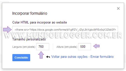 incorporar formulario google drive no blogger
