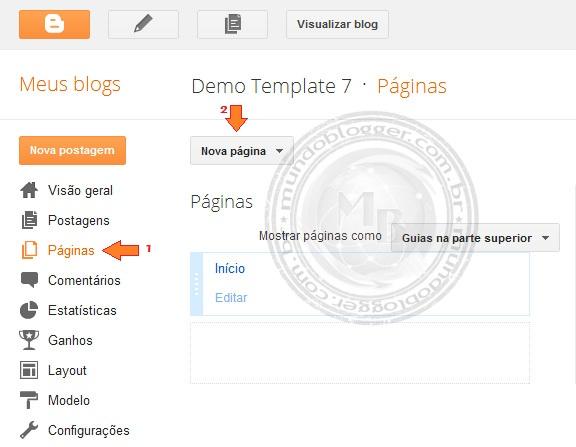 Criando Páginas Estáticas no Blogger