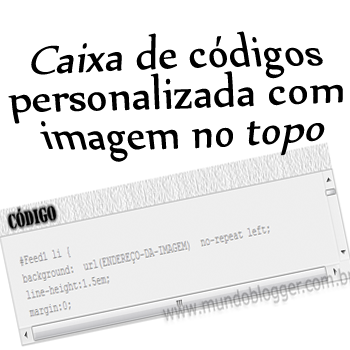 Caixa de códigos personalizada com imagem no topo