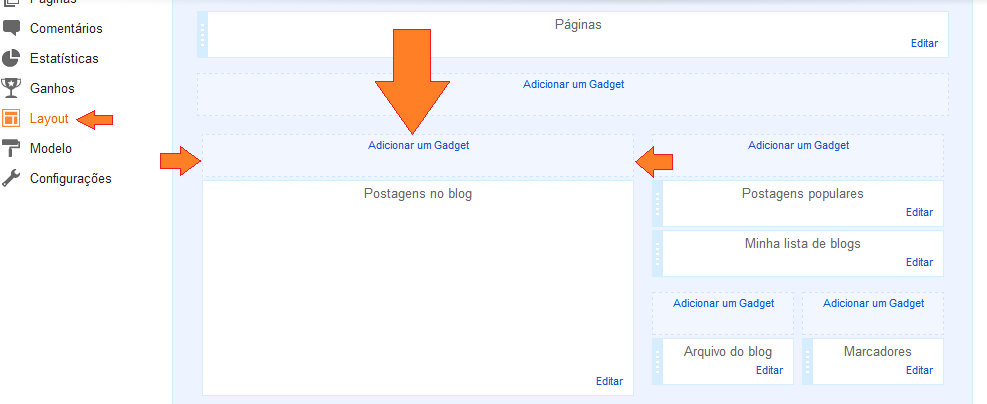 Como instalar widget acima da coluna de postagens