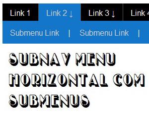Subnav Menu Horizontal com submenus