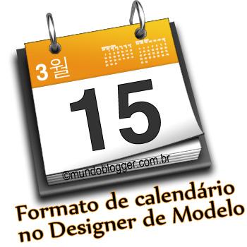 Data dos posts em formato calendário no Designer de Modelo
