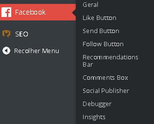 administracao Plugin do Facebook para WordPress